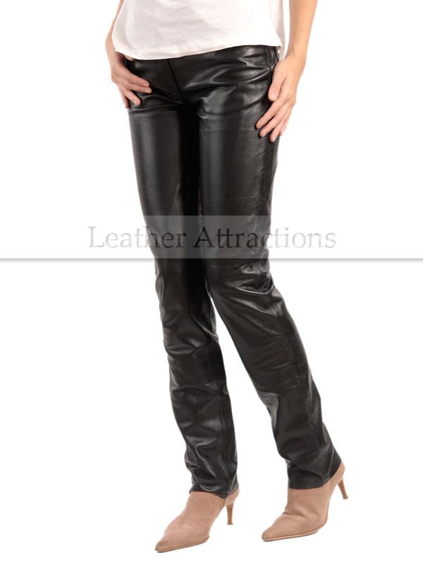 d80392ed61 Jean Style 5 pocket Women black leather Pants