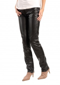 Jean Style 5 pocket Women black leather Pants Left Side