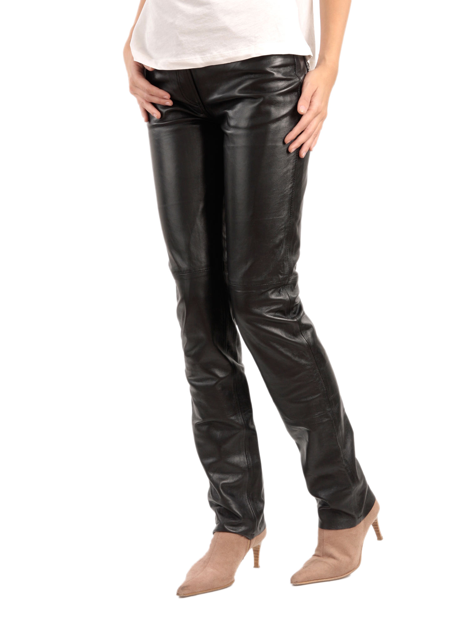 Lastest Black Sexy Womens Skinny Faux Leather High Waist Trousers Tights