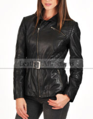 Ladies-Quilted-Motorbike-belted-jacket-Front-close