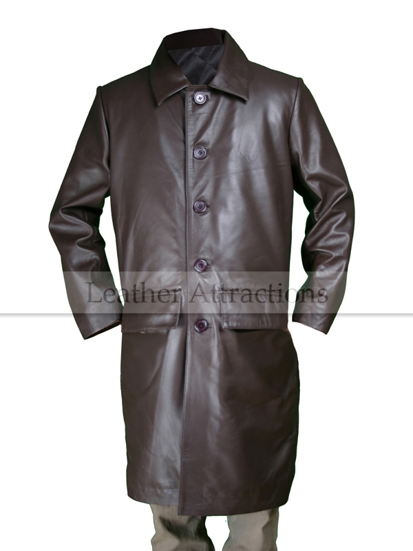 Men's Brown Leather Car Coat