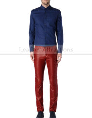 Men-5-pocket-jeans-style-Red-leather-pants-Front