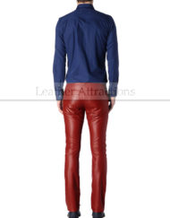 Men-5-pocket-jeans-style-Red-leather-pants-back