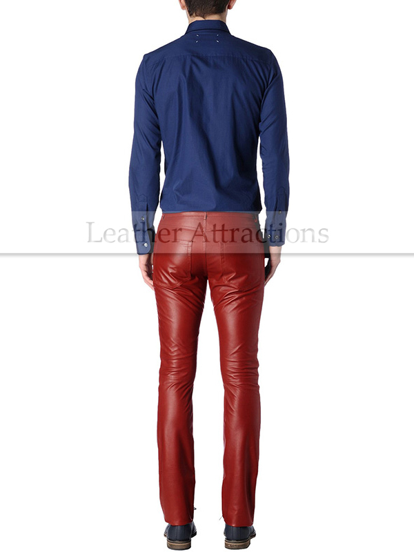 retail prices newest beautiful in colour Men 5 pocket jeans style Red leather pants