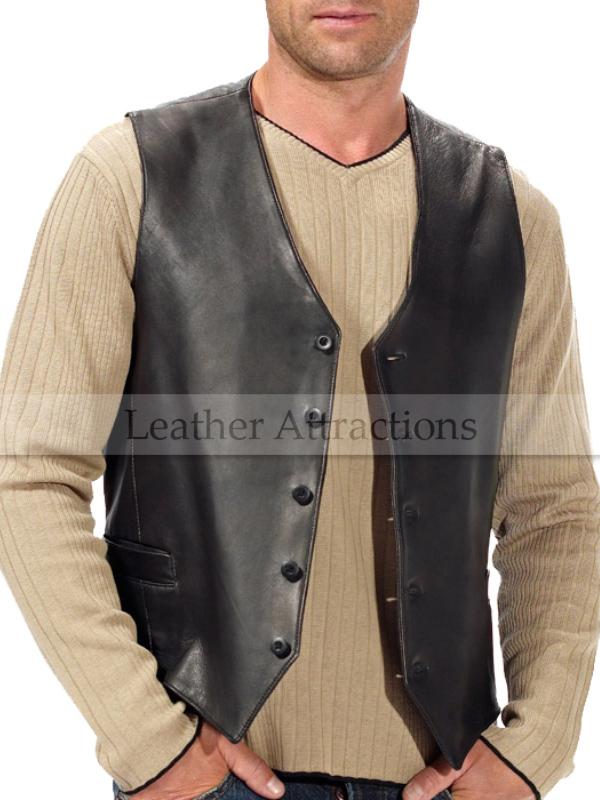 Men S Classic Lamb Leather Motorcycle Vest