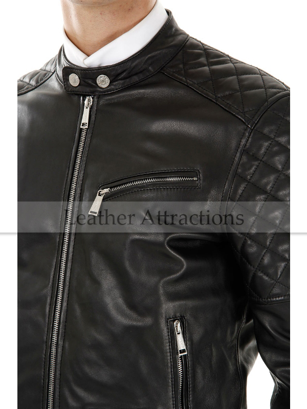 Mens Motorcycle Quilted Leather Jacket