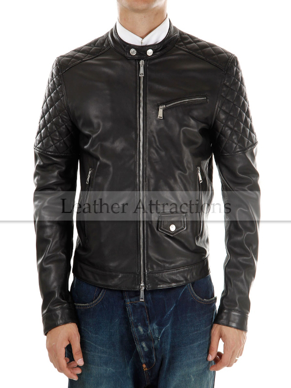 Men's Motorcycle Quilted Leather Jacket