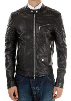 Men Motocycle Quilted Leather Jacket