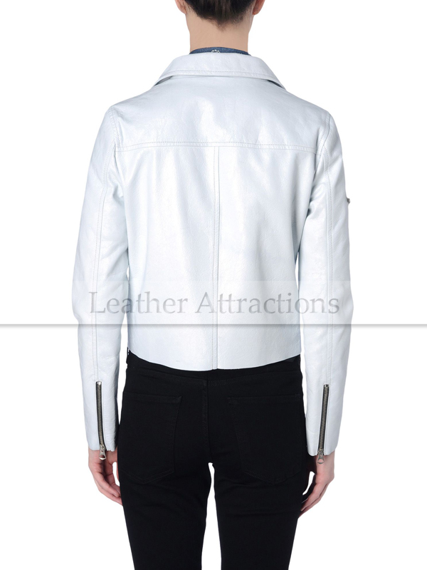 Men White Biker Leather Jacket