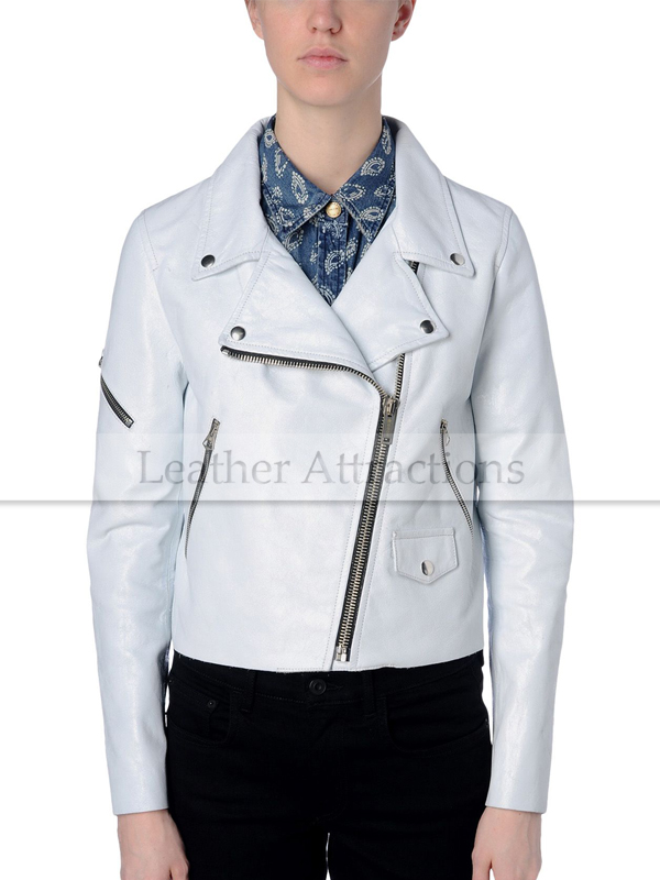 Men White Biker Leather Jacket