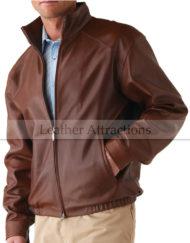 Mens-Zip-up-Brown-Bomber-lether-jacket