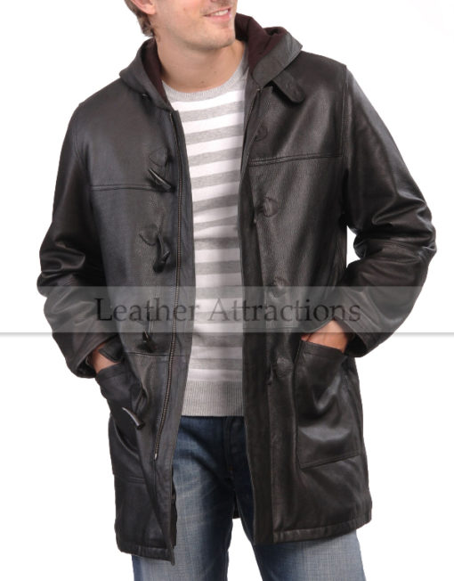Metro-Hooded-Cow-Leather-Coat-front-open