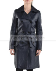 Mid-Night-Blue-Double-Brace-Women-Leather-Trench-Front-Close