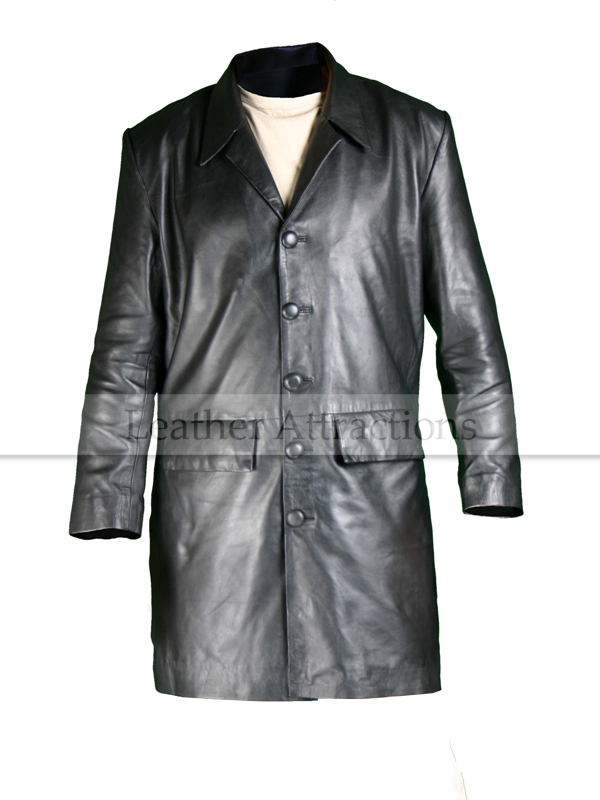 Milan Three Quarter Men's Leather Trench Coat