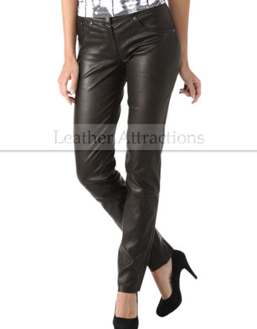 Milan-Ladies-Leather-Pants-Front-Right