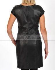 Mini-Sleeves-lether-Dress-Back