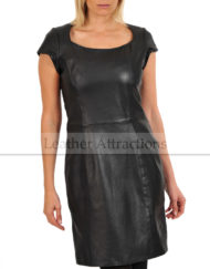 Mini-Sleeves-lether-Dress-Front