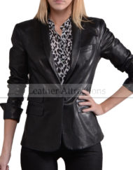 One-Button-Triple-Pocket-Flap-Ladies-Blazer-Side-Front
