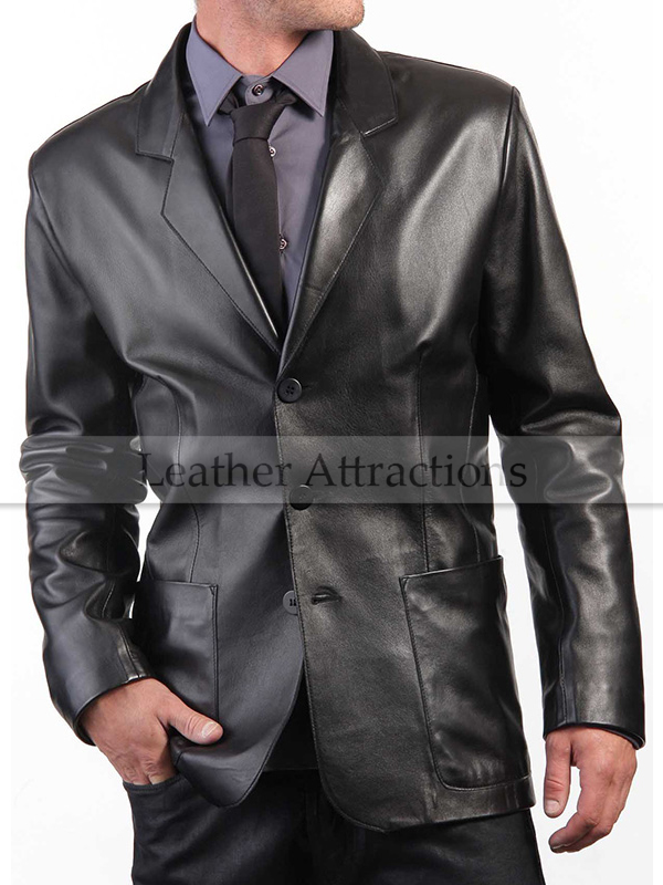 Patch Pocket Men's Leather Blazer