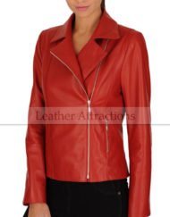 Perfecto-Women-Red-Lambskin-Leather-Biker-Blazer-Front