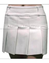 Pleated-White-Mini-Leather-Skirt