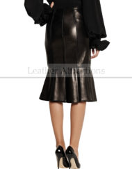 Pletted-leather-flayered-skirt-Back