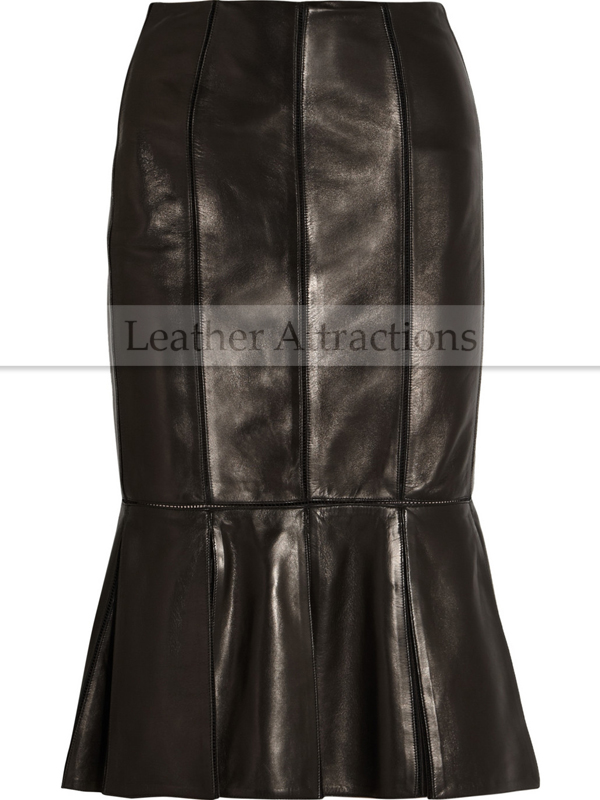 7fcc12d15766 Pleated leather flared skirt