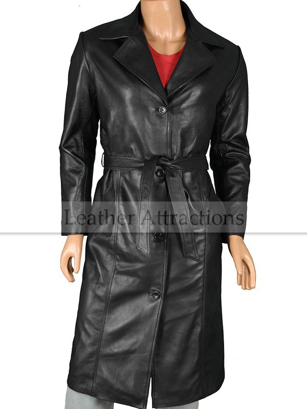 457880c26 Utterly Women Long Leather coat