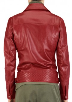 Men's Motorcycle Red Leather Jacket