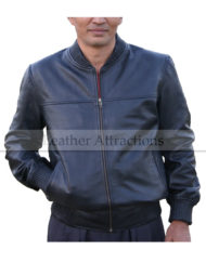 Ribbed-Collar-Leather-Bomber-Jacket-Front-Close