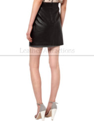 Ribbed-Waist-Short-Black-Leather-Skirt-Back