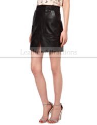 Ribbed-Waist-Short-Black-Leather-Skirt-Side