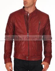 Riders-Red-Leather-Jacket-Front-close