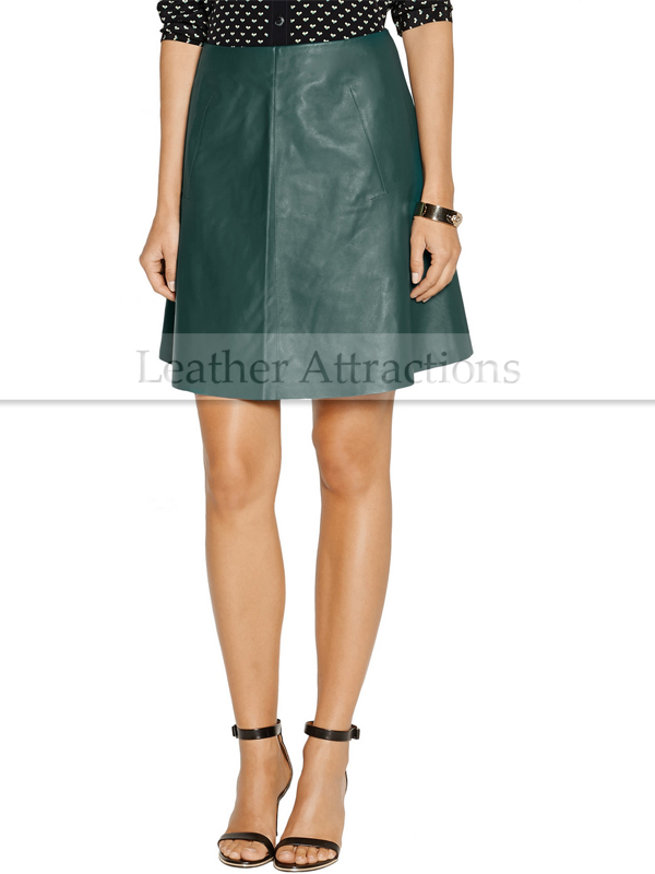 Sea Green Leather Skirt