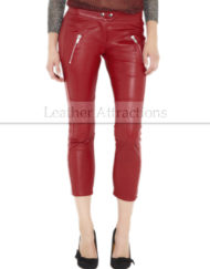 Sicily-Women-Caprice-Red-leather-Pants-Front