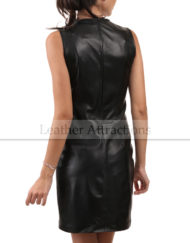 Sleeveless-Round-Collar-Leather-Dress-Back