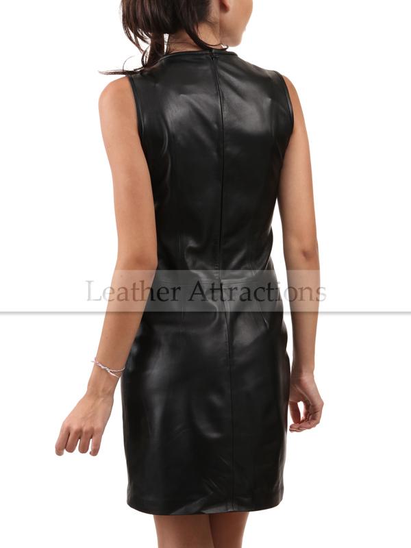 ca5ce2492dd Sleeveless Round Collar Leather Dress. $ 278.00 $ 228.00. Sale!