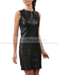 Sleeveless-Round-Collar-Leather-Dress-Front