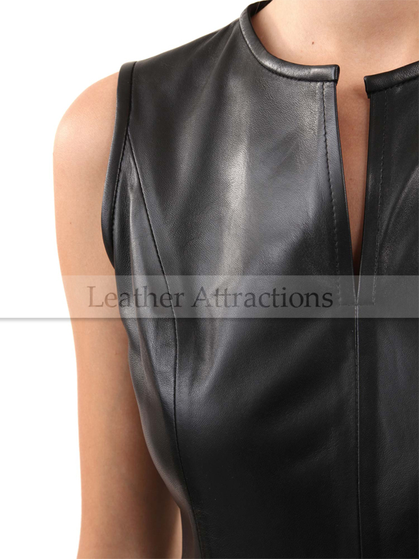 8c9fbe27112 Sleeveless Round Collar Leather Dress