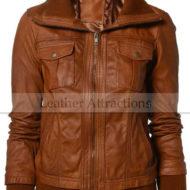 Slim-Ribbed-Collar-Ladies-jacket-Slim-Ribbed-Collar-Ladies-jacket-Tan-Front