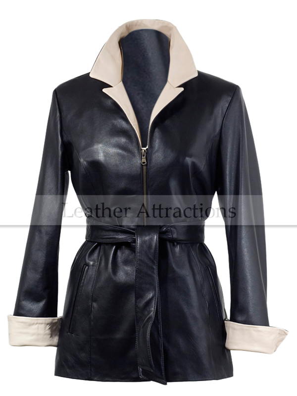 Two Tone Soft Women Leather Coat