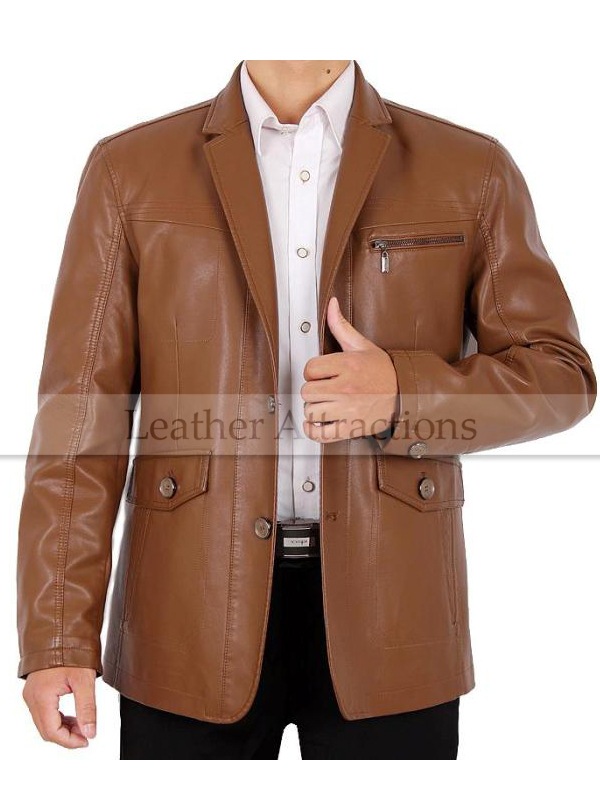 Viana Tan Leather Blazer