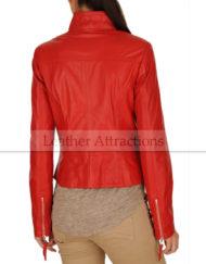 Vince-Motocycle-Red-Ladies-Jacket-Back