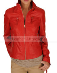 Vince-Motocycle-Red-Ladies-Jacket-Front