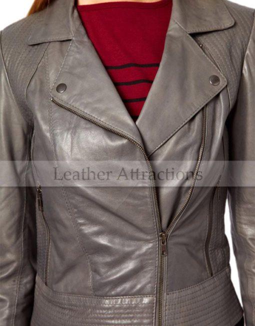 Viscouse-vogue-Women-Grey-Biker-jacket-Closeup