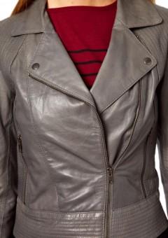 Viscouse vogue Women Grey Biker jacket