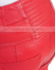 Vogue-Women-Leather-Pantalon-Back-Pocket-Red