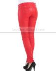 Vogue-Women-Leather-Pantalon-Back-Red