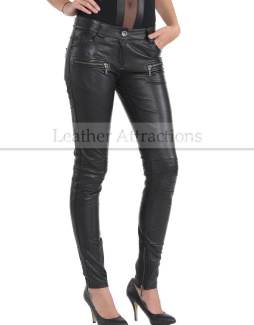 Vogue-Women-Leather-Pantalon-Front