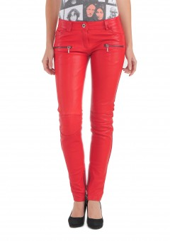 Vogue Women Leather Pantalon Front Red
